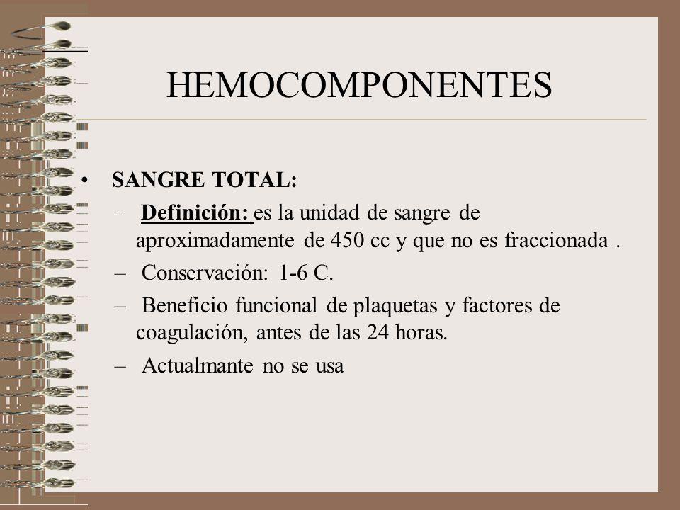 HEMOCOMPONENTES SANGRE TOTAL: Conservación: 1-6 C.