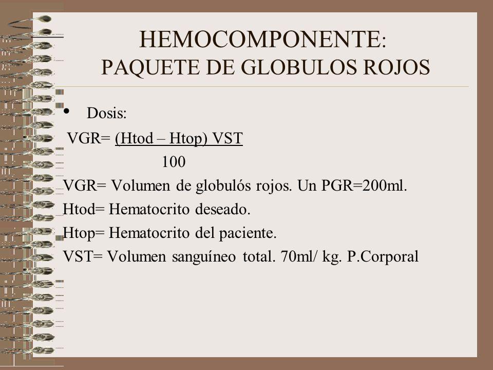 HEMOCOMPONENTE: PAQUETE DE GLOBULOS ROJOS