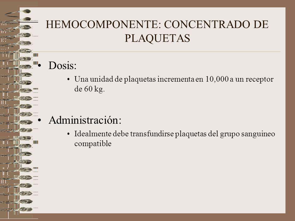 HEMOCOMPONENTE: CONCENTRADO DE PLAQUETAS