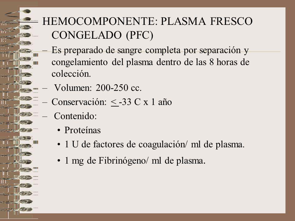 HEMOCOMPONENTE: PLASMA FRESCO CONGELADO (PFC)