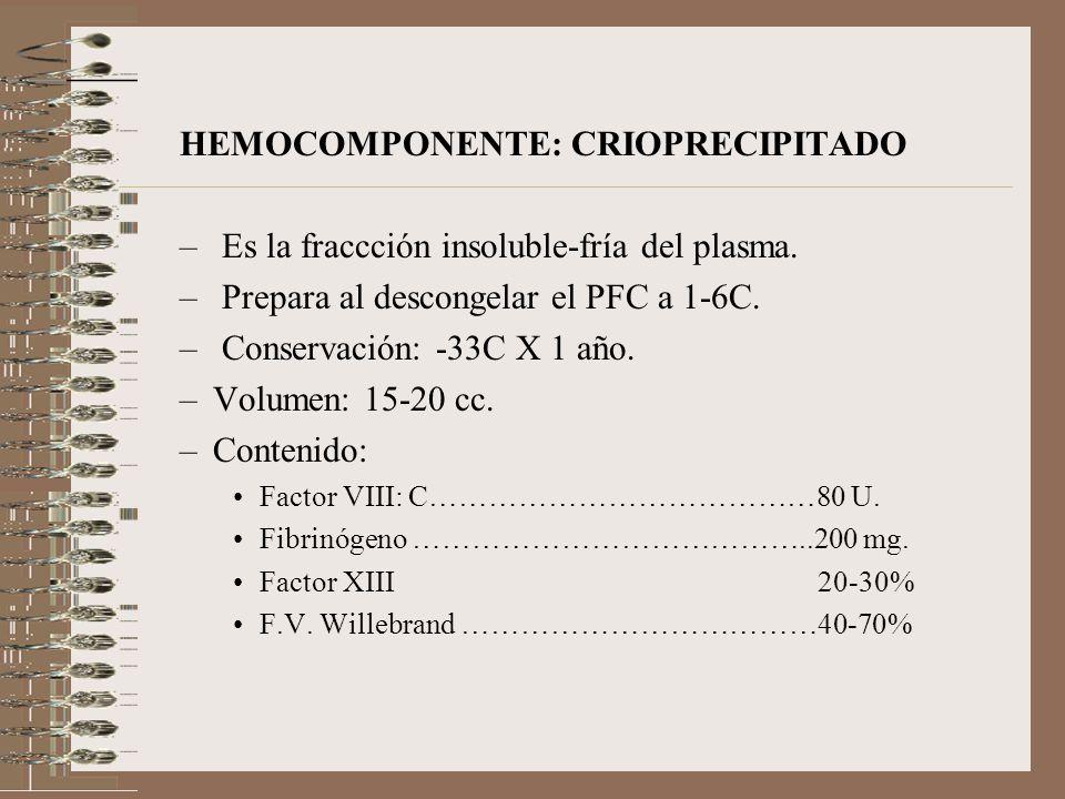HEMOCOMPONENTE: CRIOPRECIPITADO