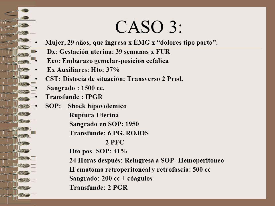 CASO 3: Mujer, 29 años, que ingresa x ÉMG x dolores tipo parto .