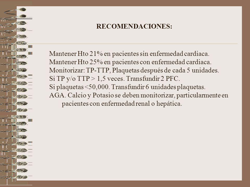 RECOMENDACIONES: Mantener Hto 21% en pacientes sin enfermedad cardiaca. Mantener Hto 25% en pacientes con enfermedad cardiaca.