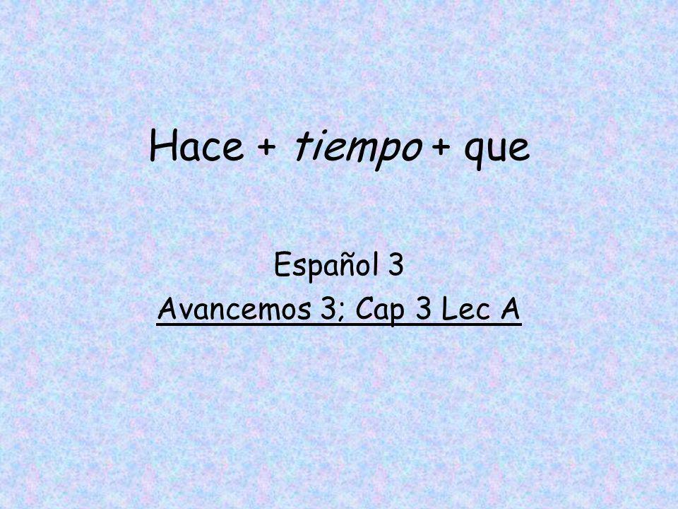 Español 3 Avancemos 3; Cap 3 Lec A