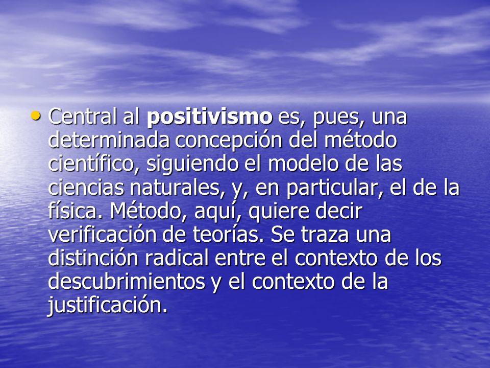 Central al positivismo es, pues, una determinada concepción del método científico, siguiendo el modelo de las ciencias naturales, y, en particular, el de la física.