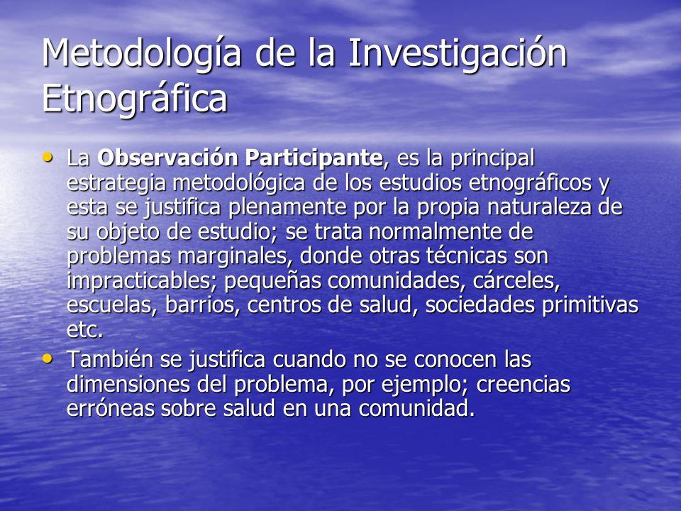 Metodología de la Investigación Etnográfica