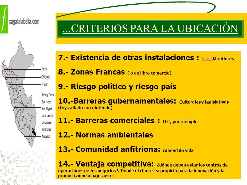 ...CRITERIOS PARA LA UBICACIÓN