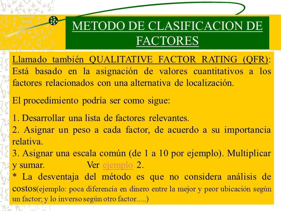 METODO DE CLASIFICACION DE FACTORES