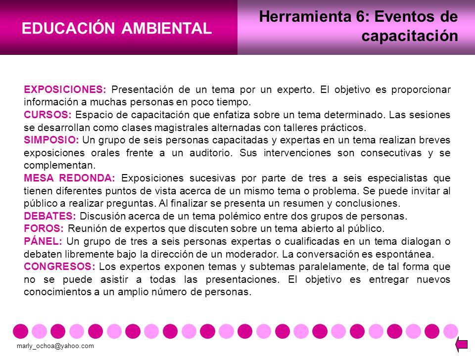 Herramienta 6: Eventos de capacitación