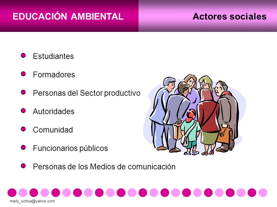 Actores sociales Estudiantes Formadores Personas del Sector productivo