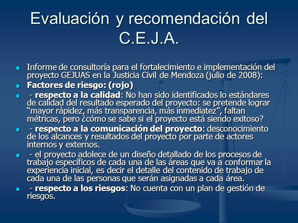 Evaluación y recomendación del C.E.J.A.