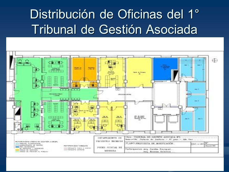 Distribución de Oficinas del 1° Tribunal de Gestión Asociada