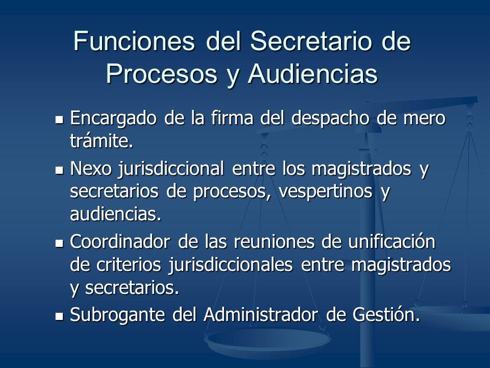 Funciones del Secretario de Procesos y Audiencias