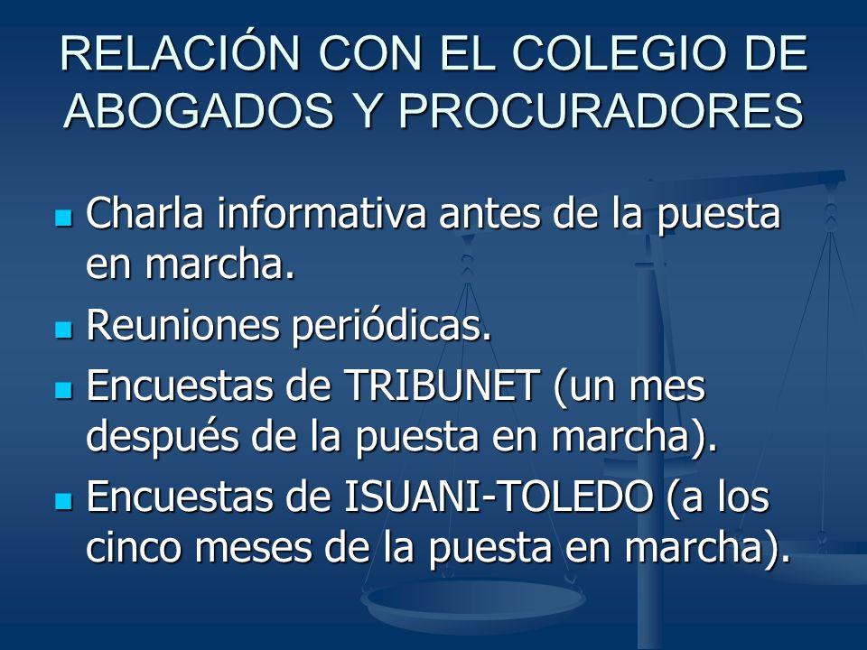 RELACIÓN CON EL COLEGIO DE ABOGADOS Y PROCURADORES