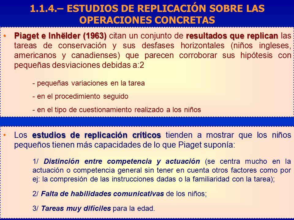 1.1.4.– ESTUDIOS DE REPLICACIÓN SOBRE LAS OPERACIONES CONCRETAS