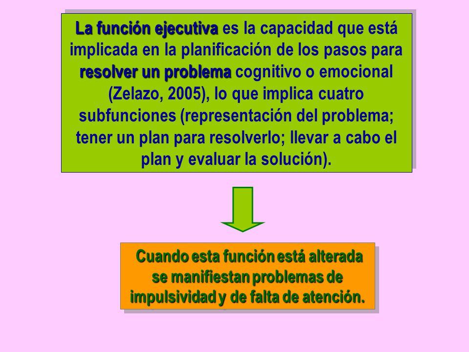 La función ejecutiva es la capacidad que está implicada en la planificación de los pasos para resolver un problema cognitivo o emocional (Zelazo, 2005), lo que implica cuatro subfunciones (representación del problema; tener un plan para resolverlo; llevar a cabo el plan y evaluar la solución).