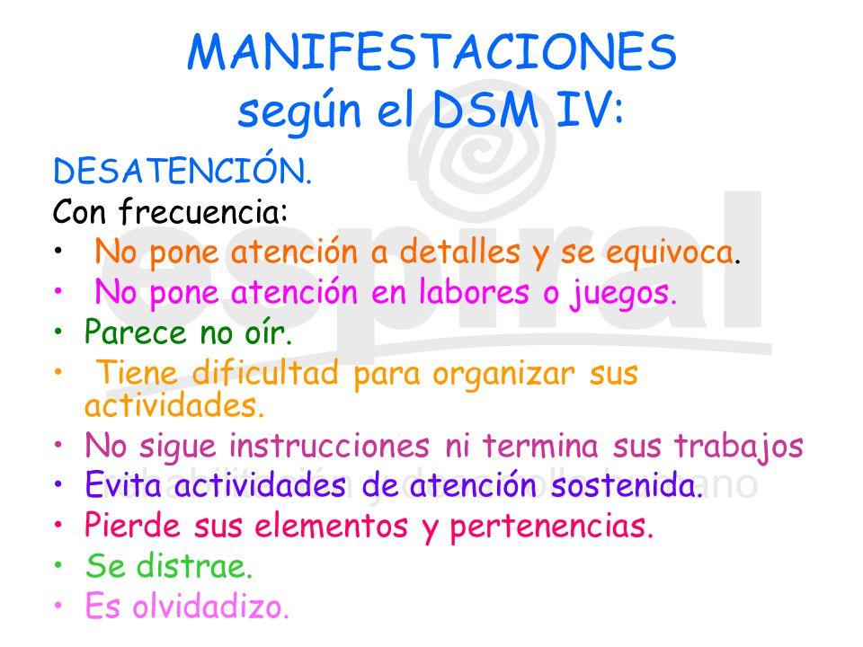 MANIFESTACIONES según el DSM IV: