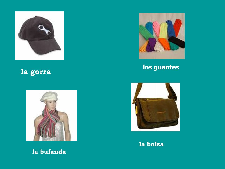 los guantes la gorra la bolsa la bufanda