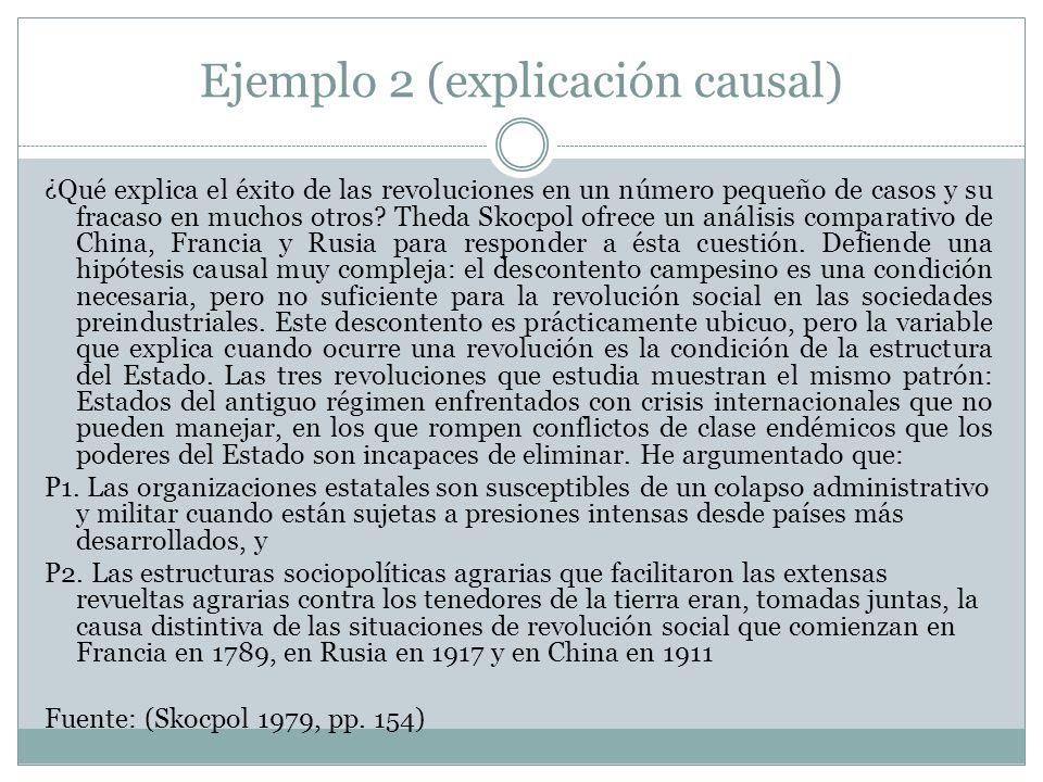 Ejemplo 2 (explicación causal)