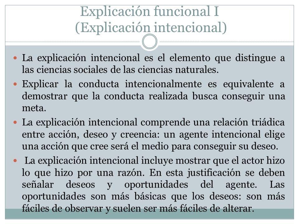 Explicación funcional I (Explicación intencional)