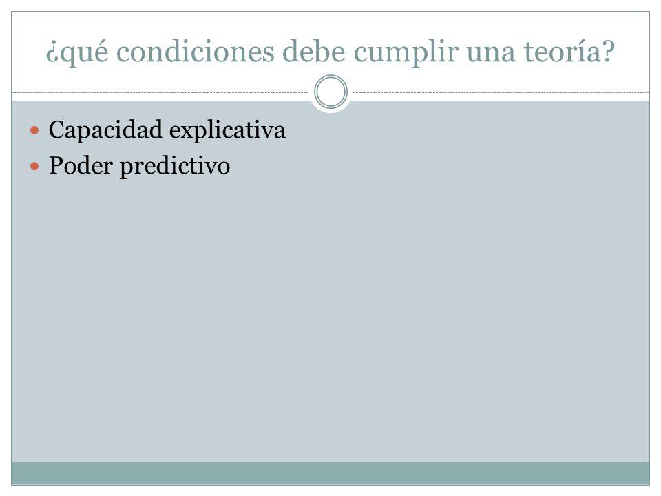 ¿qué condiciones debe cumplir una teoría