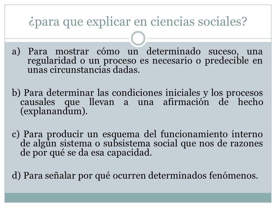 ¿para que explicar en ciencias sociales