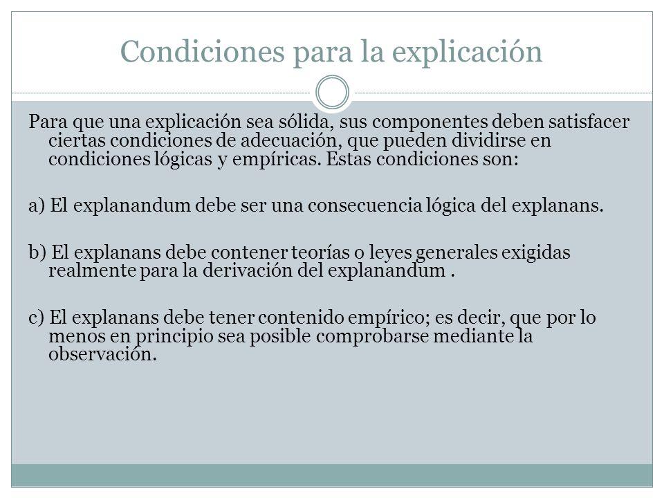 Condiciones para la explicación