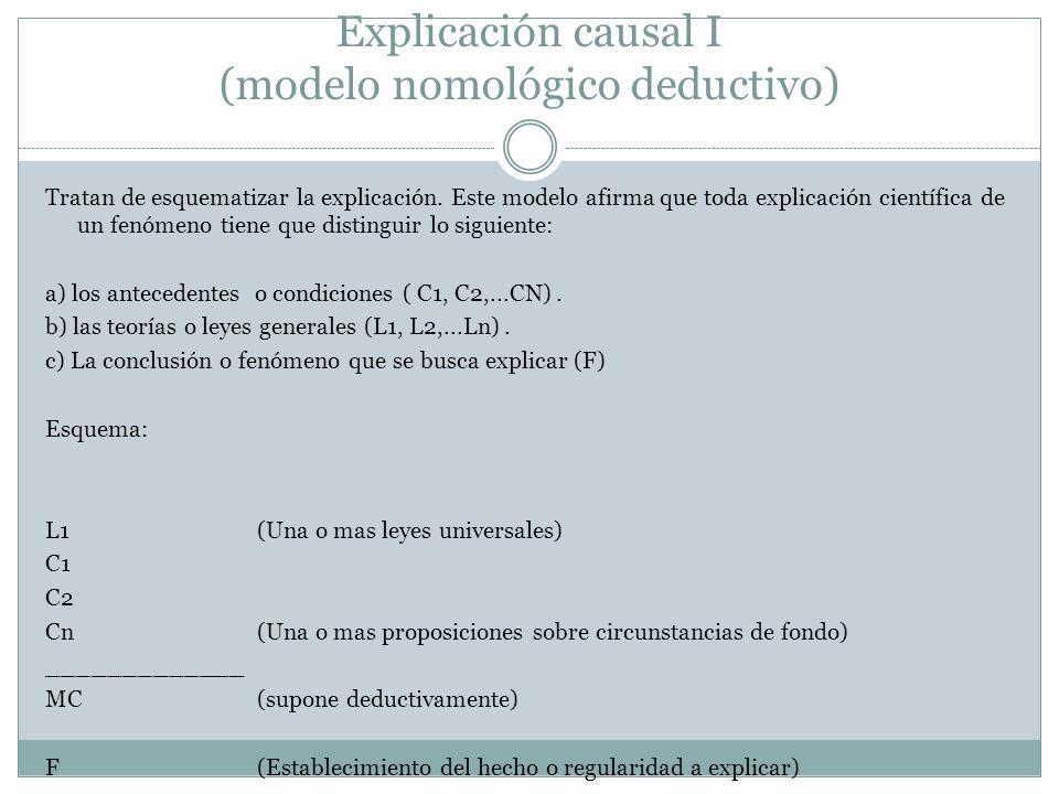 Explicación causal I (modelo nomológico deductivo)