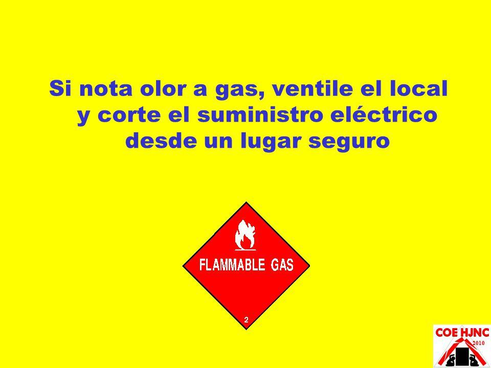 Si nota olor a gas, ventile el local y corte el suministro eléctrico desde un lugar seguro