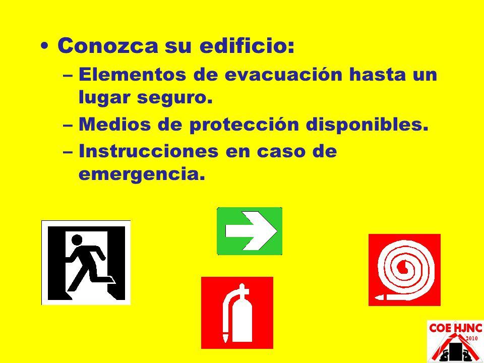Conozca su edificio: Elementos de evacuación hasta un lugar seguro.