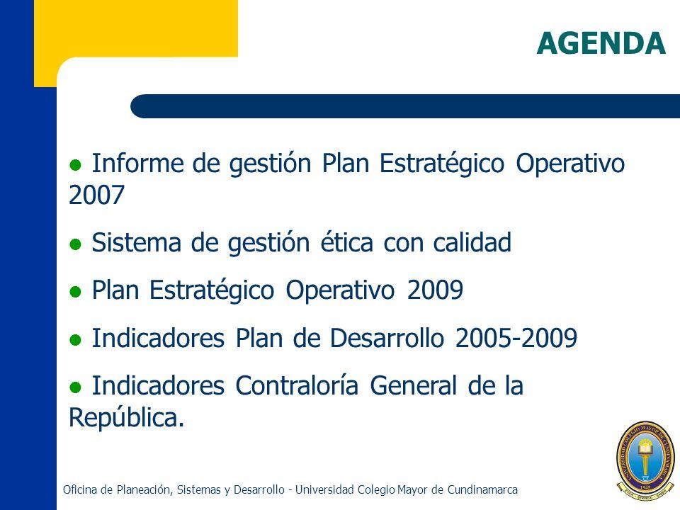 AGENDA Informe de gestión Plan Estratégico Operativo 2007