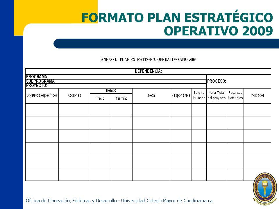 FORMATO PLAN ESTRATÉGICO OPERATIVO 2009