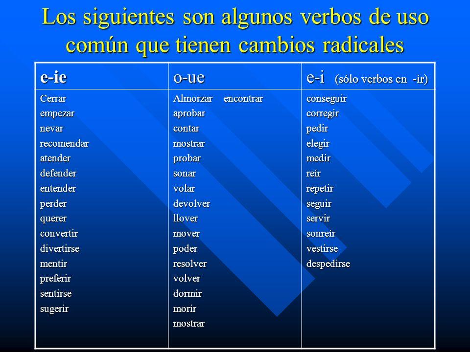 Los siguientes son algunos verbos de uso común que tienen cambios radicales