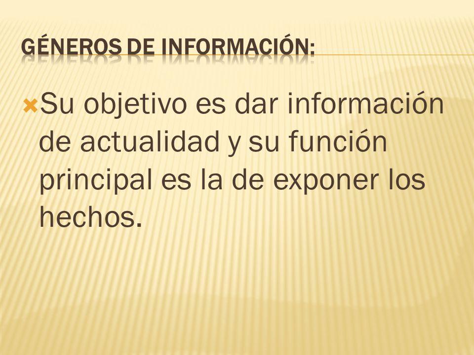 Géneros de información: