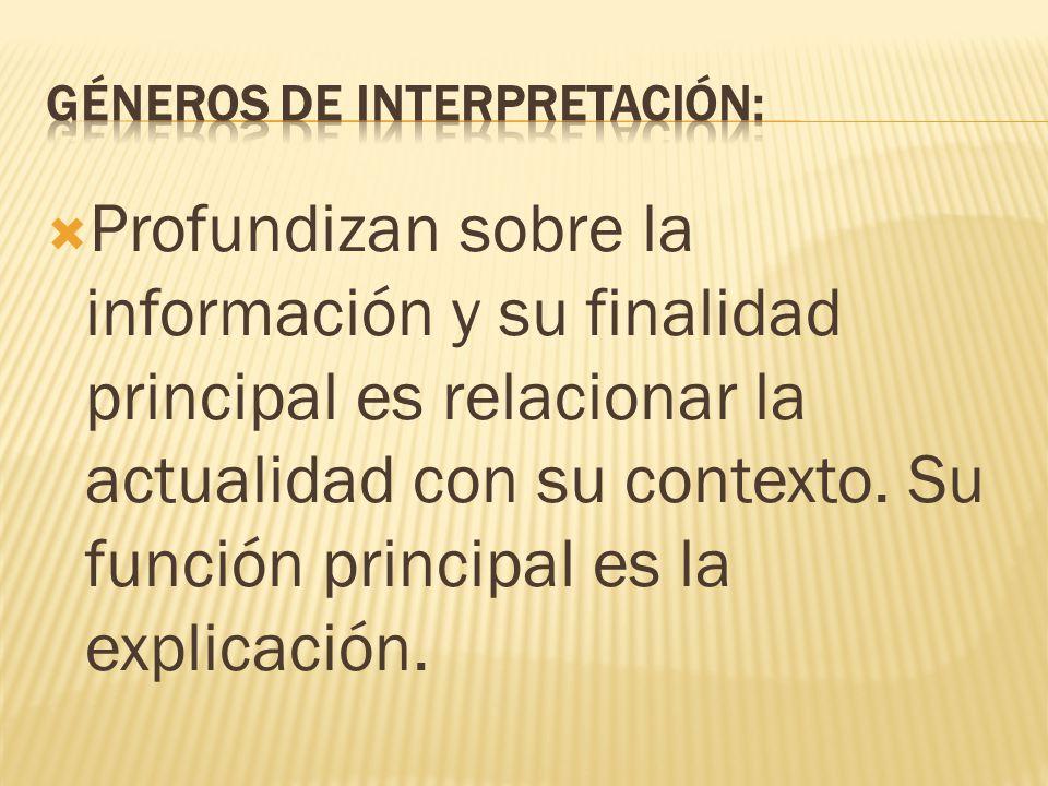 Géneros de interpretación: