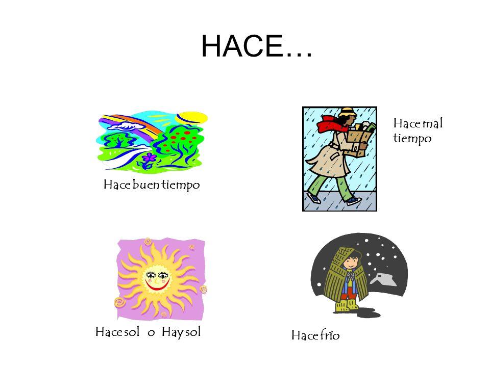 HACE… Hace mal tiempo Hace buen tiempo Hace sol o Hay sol Hace frío
