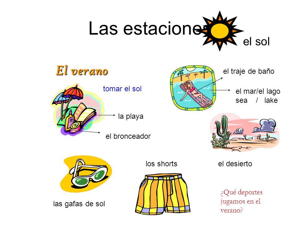 Las estaciones El verano el sol el traje de baño tomar el sol
