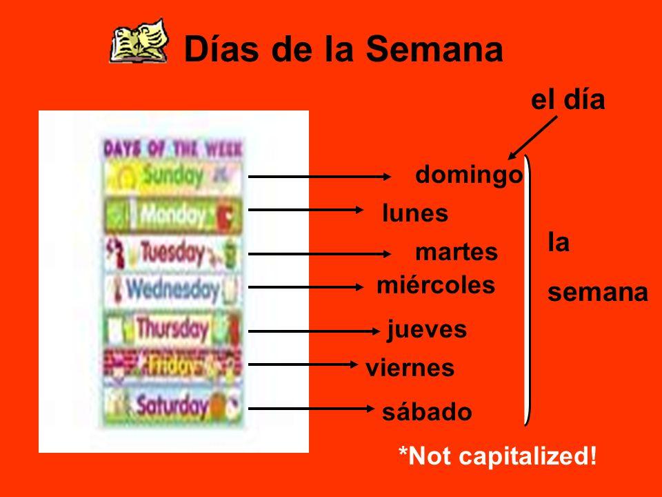 Días de la Semana el día la semana domingo lunes martes miércoles