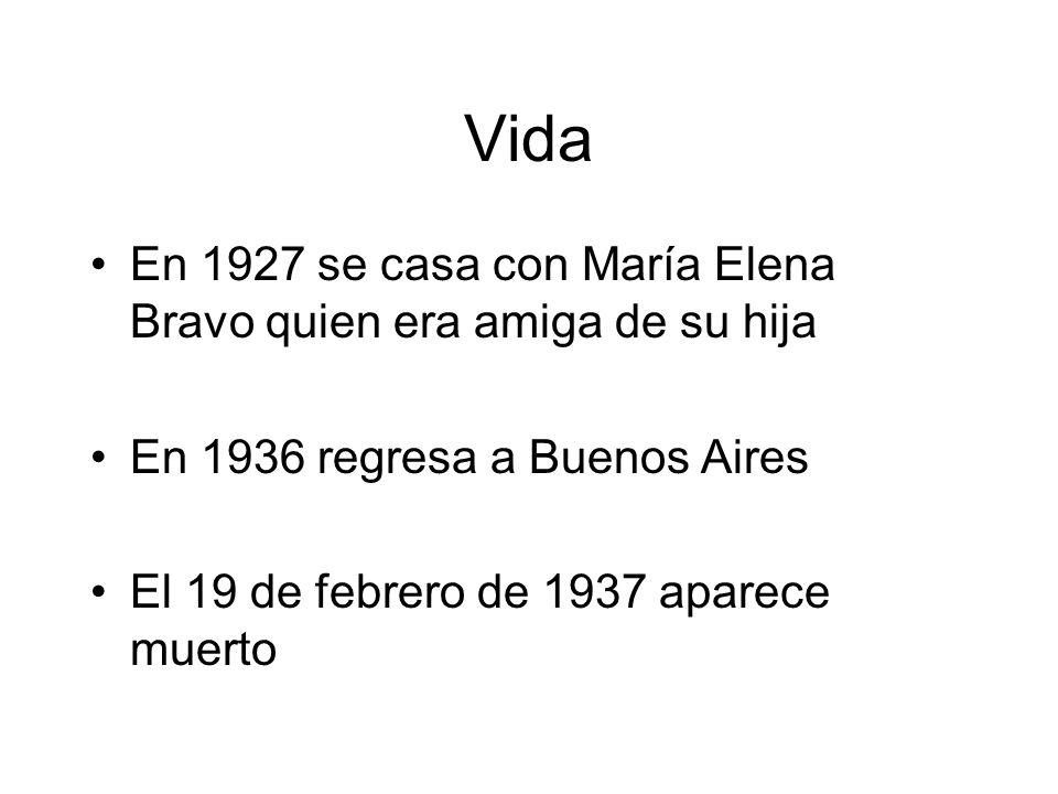 Vida En 1927 se casa con María Elena Bravo quien era amiga de su hija