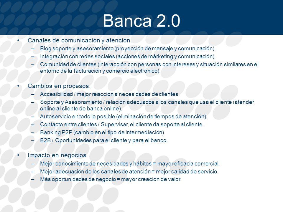Banca 2.0 Canales de comunicación y atención. Cambios en procesos.