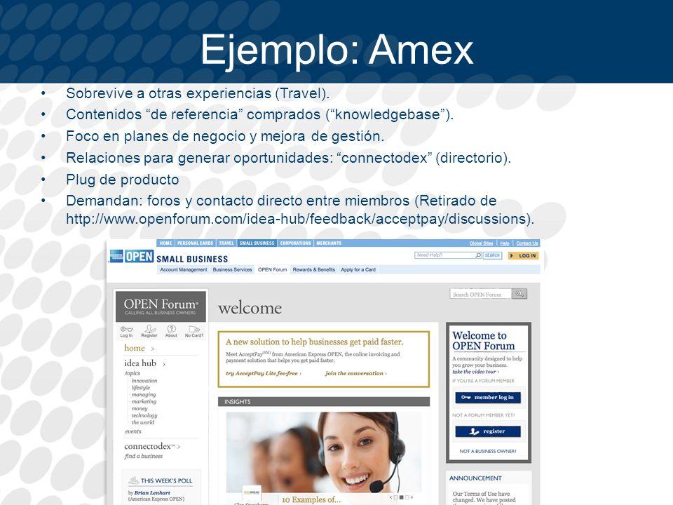 Ejemplo: Amex Sobrevive a otras experiencias (Travel).