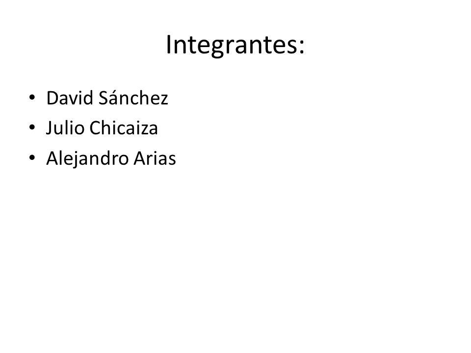 Integrantes: David Sánchez Julio Chicaiza Alejandro Arias
