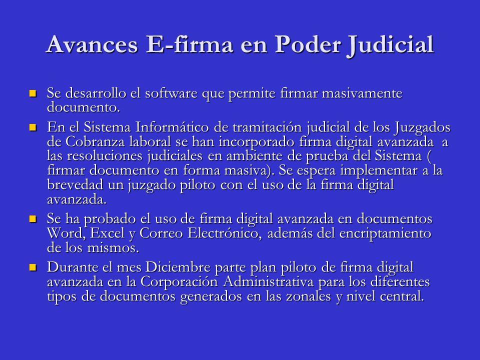 Avances E-firma en Poder Judicial