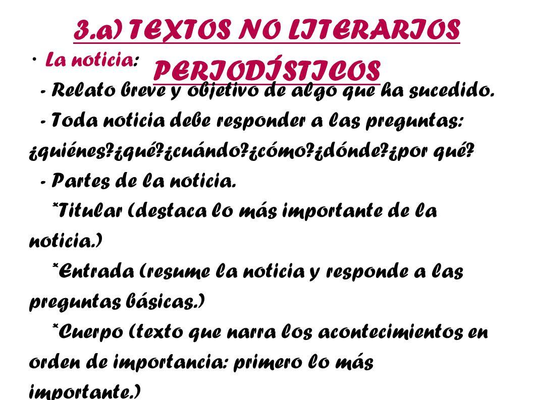 3.a) TEXTOS NO LITERARIOS PERIODÍSTICOS