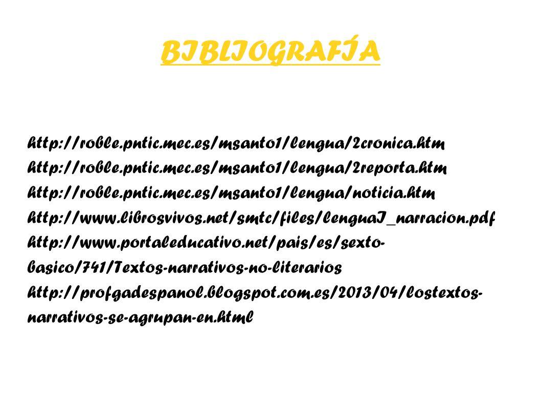 BIBLIOGRAFÍA http://roble.pntic.mec.es/msanto1/lengua/2cronica.htm