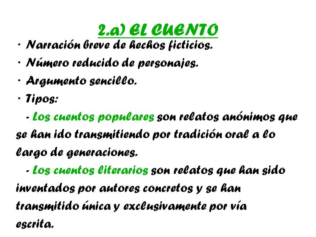 2.a) EL CUENTO · Narración breve de hechos ficticios.