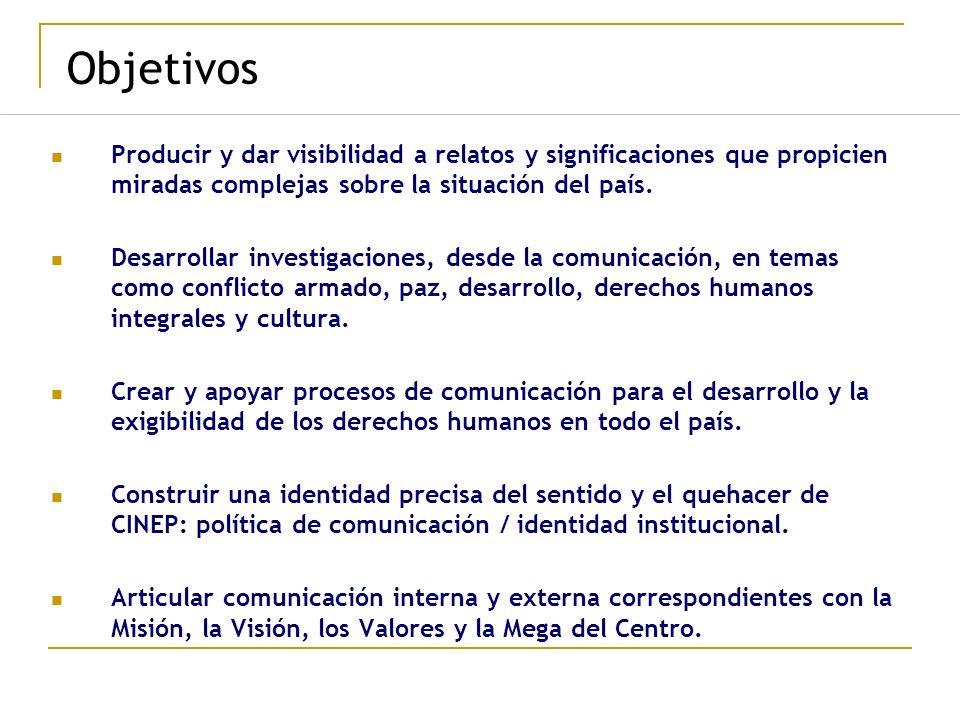 Objetivos Producir y dar visibilidad a relatos y significaciones que propicien miradas complejas sobre la situación del país.