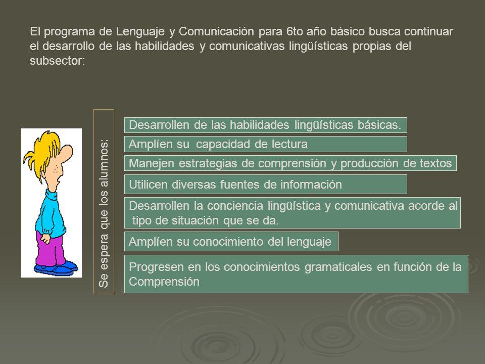 El programa de Lenguaje y Comunicación para 6to año básico busca continuar el desarrollo de las habilidades y comunicativas lingüísticas propias del subsector: