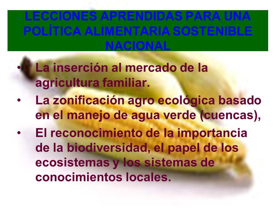 LECCIONES APRENDIDAS PARA UNA POLÍTICA ALIMENTARIA SOSTENIBLE NACIONAL