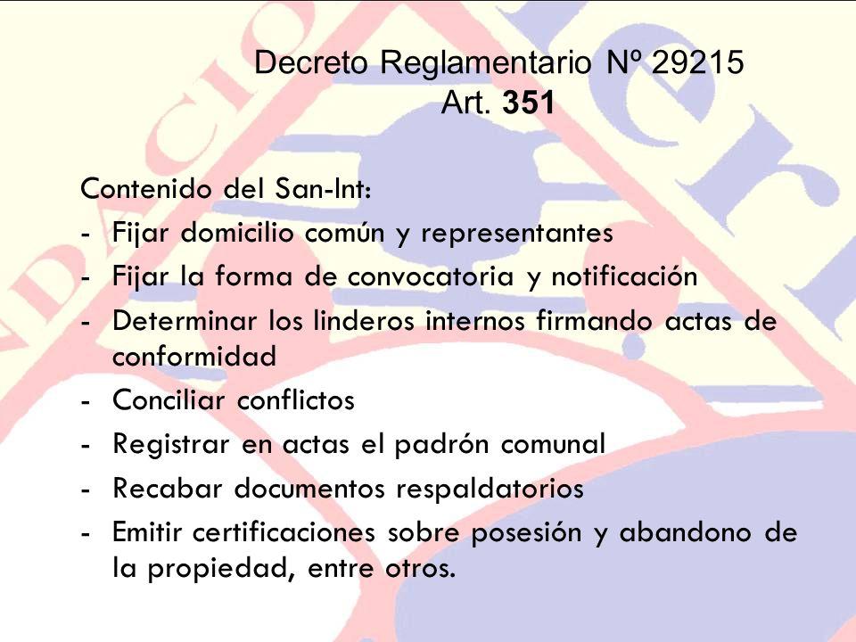 Decreto Reglamentario Nº 29215 Art. 351